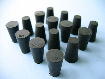 Size 000 Black Rubber Stoppers  (Count 16)