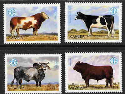 Zambia 1987  World Food Day - Cattle Stamps - Mint Complete Set Of 4!