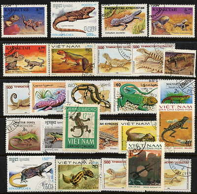 Fascinating Collection Of Lizard Stamps - 25 Different!