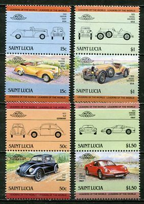 St. Lucia 1985 Classic Car Stamps - Mint Complete Set!