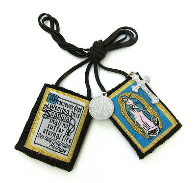 Scapular Our Lady of Guadalupe Carmel Brown Scapular 100% Wool & Medals Catholic