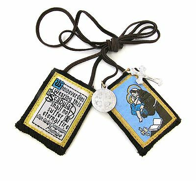 Scapular St Anthony Lady Mt Carmel Brown Scapular 100% Wool & Medals Catholic