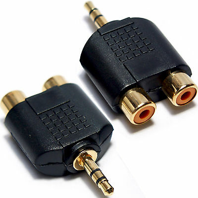 3.5mm Jack Plug to 2 RCA/Phono Adapter-Phone TV AMP Male Audio AUX Converter PC