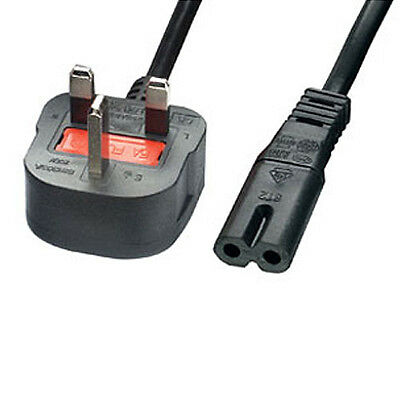 3m UK Mains Plug to C7 Figure/Fig 8 Power Cable - 240V Transformer Charger Lead