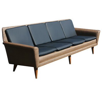 8ft Restored Danish Modern Dux Leather Sofa Couch ON SALE 45% OFF (MR6290)