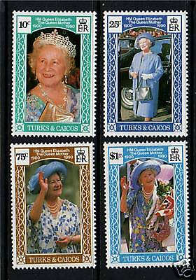 Turks & Caicos 1990 Queen Mother 90th B/daySG1045/8 MNH