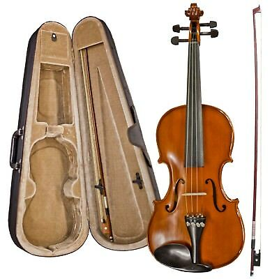 New Complete Violin Outfit Three Quarter 3/4 With Hard Case Wooden Bow Rosin