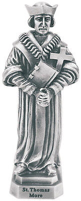 Statue St Thomas More 3.5 inch Pewter Silver Figurine Patron Saint Catholic Box