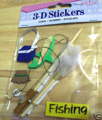 creel hat... lure Alaska themed 3D scrapbook stickers fishing themed Pole