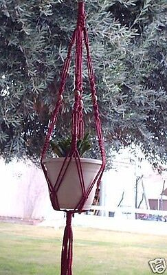 MACRAME PLANT HANGER 48in VINTAGE Style Cranberry - with BEADS