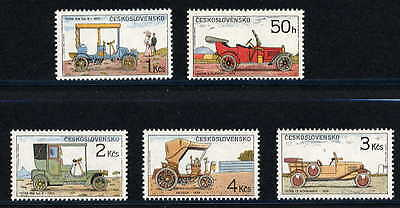 Czechoslovakia 1988 Classic Car Stamps -  Mint Complete Set Of 5!