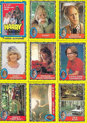 Harry And The Hendersons Movie 1987 Topps Base Card & Sticker Set Of 77 + 22