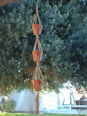 MACRAME PLANT HANGER for 3 small POTS 46 in 4mm - Sand