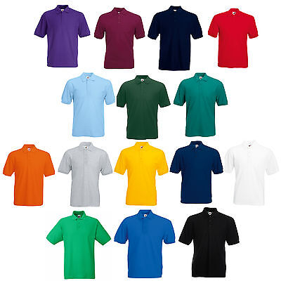 Fruit Of The Loom Plain Polo Shirt 14 Colours All Sizes