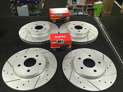 FORD MONDEO MK3 2.2ST DCi CROSS DRILLED GROOVED BRAKE DISCS MINTEX PADS