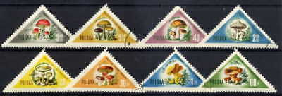 Poland 1959 Mushroom Triangles Complete Set Of 8 Stamps- $6.80 Value!