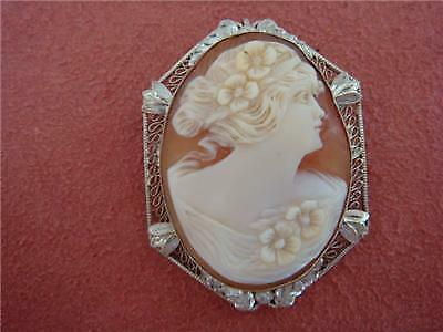 Antique Cameo 14K Gold Pin Brooch/Pendant Filigree WOW