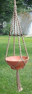 Macrame Plant Hanger 52in Deluxe- BEADS - Sand Cord - CHOOSE COLOR