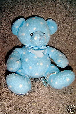 """Russ Berrie """"dots"""" Blue With White Polka Dots  Euc~I#16"""