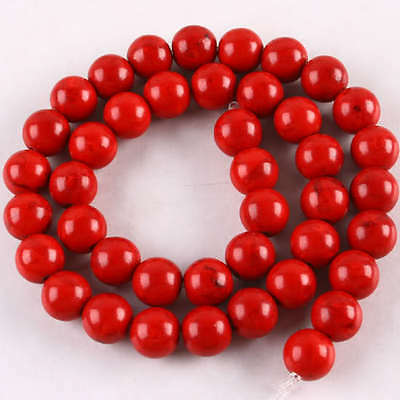 """10mm Red Howlite Turquoise Gem Round Loose Beads 16""""L"""