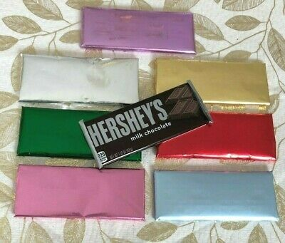 20 FOILS SHEETS REGULAR HERSHEY CANDY BARS BLUE PINK SILVER GOLD RED or GREEN