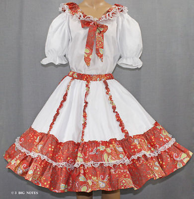 White &tangerine Paisly Flower Square Dance Outfit Sz M