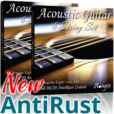 2 SETS - Adagio Coated Acoustic Guitar Strings 12-53 AntiRust!
