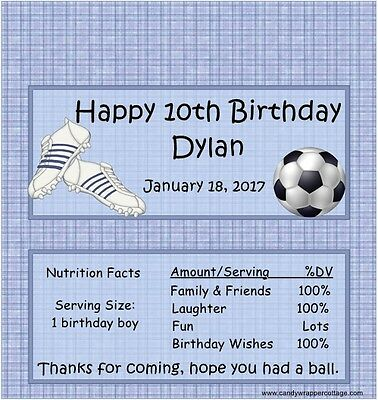 SOCCER BALL BIRTHDAY personalized PARTY CANDY BAR WRAPPERS FAVORS