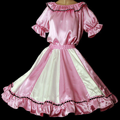 """Pink & White Square Dance Dress Outfit Skirt,blouse Size M/l Waist 30"""" -37"""""""
