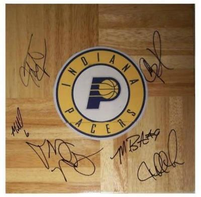 Signed 08/09 Pacers Autographed Nba Team Floor W/pics