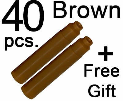 40 Fountain Pen Ink Cartridges refill BROWN + FREE GIFT