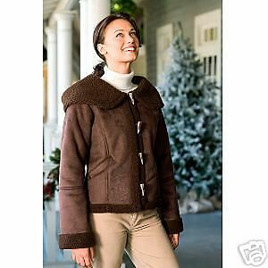 Mickey Mouse Shearling Toggle Coat Jacket Brown S Small