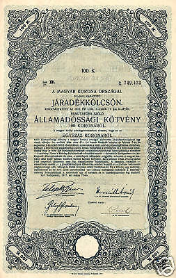 HUNGARY STATE BOND 6 % stock certificate 100 Crowns