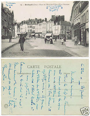 cpa : BRETEUIL, (Oise), animation, commerces, dos vert.