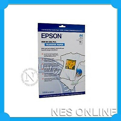 EPSON A4 IRON-ON Cool Peel TRANSFER PAPER 10xSheets 124gsm P/N:S041154