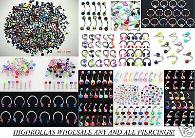 1000 Wholesale Body Jewelry Lot Belly-Nose-Lip-Plugs-Eyebrow-CZ-Dice Piercings