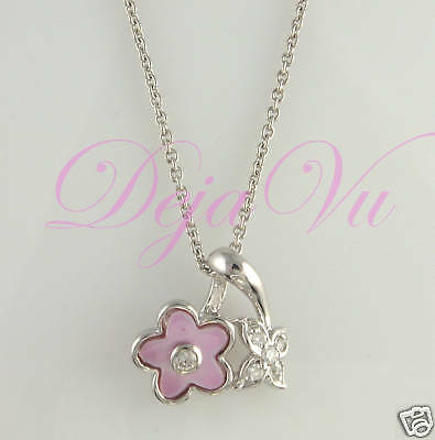 Flower Rhodium Plated Sterling Silver 925 Cz Necklace