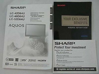 sharp lc 46d62u lc 52d62u manual registrat card new 17 99 rh picclick com sharp aquos lc-46d64u service manual Sharp AQUOS Troubleshoot