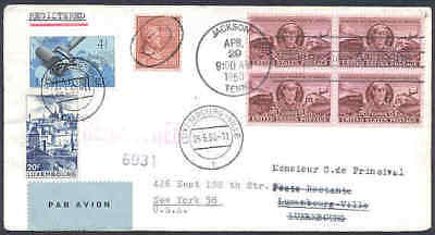 Luxembourg 1950 cover/US Prexie 18c/Train/UPU 4fr, 20fr
