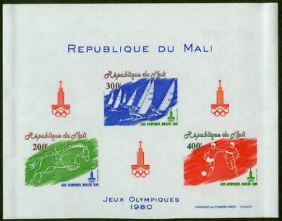 Mali 1980 Summer Olympics/Soccer/Yachting/Equestrian SS oversize imperf proof