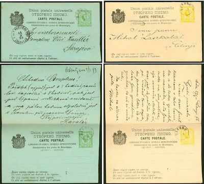 Montenegro 1893 2s+2s and 3s+3s message-reply cards