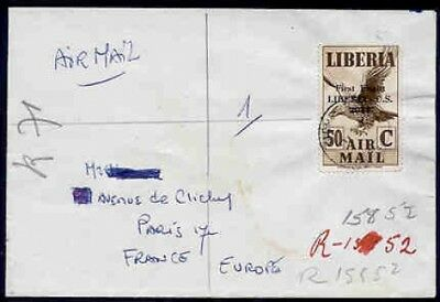 Liberia 1952 cover to Paris/Airpost 1942 50c brown