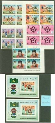 Mauritania 1977 World Cup Soccer imperf blocks & SS