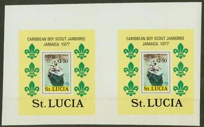 St. Lucia 1977 Scout Jamboree $2.50 SS proof UNCUT PAIR