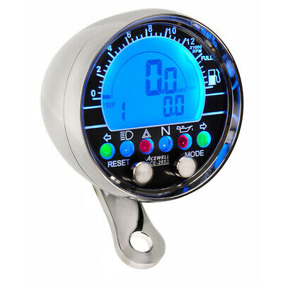 Acewell 2853CP Digital Speedometer Polished Chrome. Cruisers and Customs