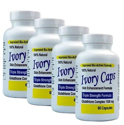 4 IVORY CAPS GLUTATHIONE SKIN WHITENING 1500 MG THISTLE exp 12/2019 or better