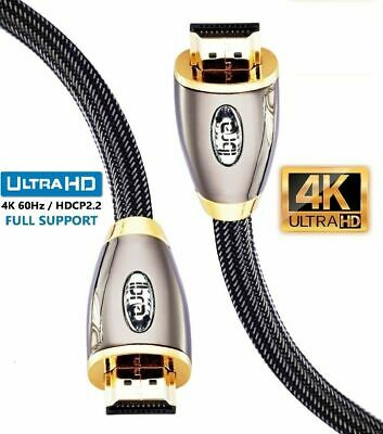 1M - Premium Braided HDMI Cable v2.0 Gold High Speed HDTV UltraHD HD 2160p 4K 3D
