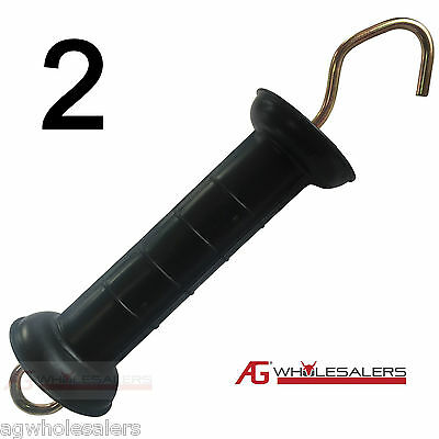 2 x ELECTRIC FENCE GATE HANDLE HEAVY DUTY LARGE SHIELD