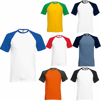 Fruit Of The Loom Short Sleeve Baseball T Shirt S-Xxl