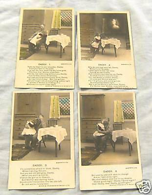 Set Of 4 Postcards - Grieving Father & Daughter, Poetry